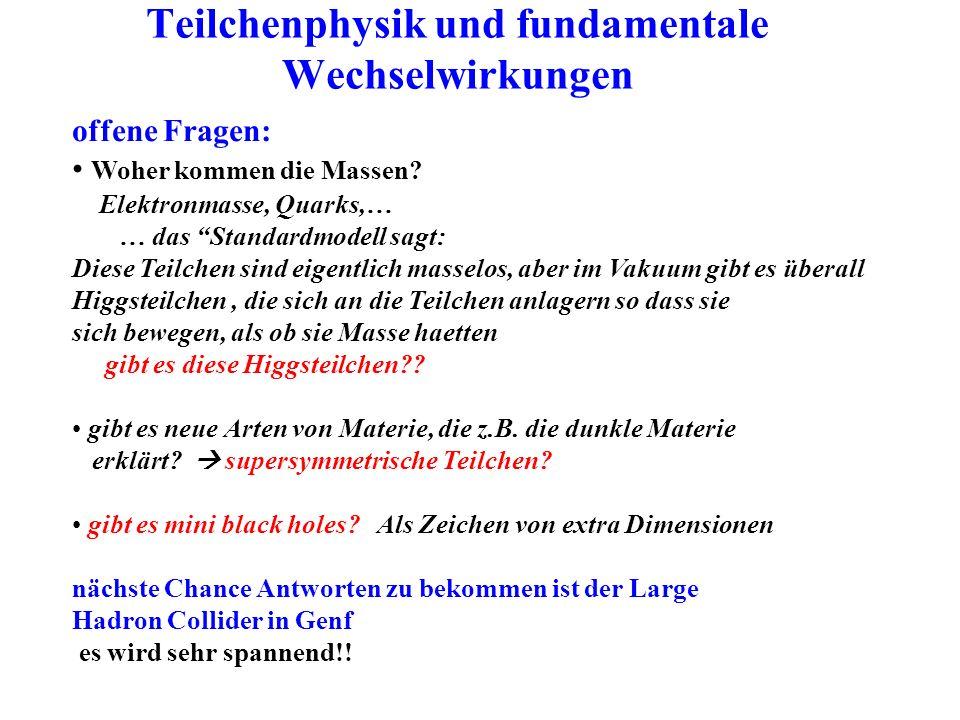 Teilchenphysik und fundamentale Wechselwirkungen