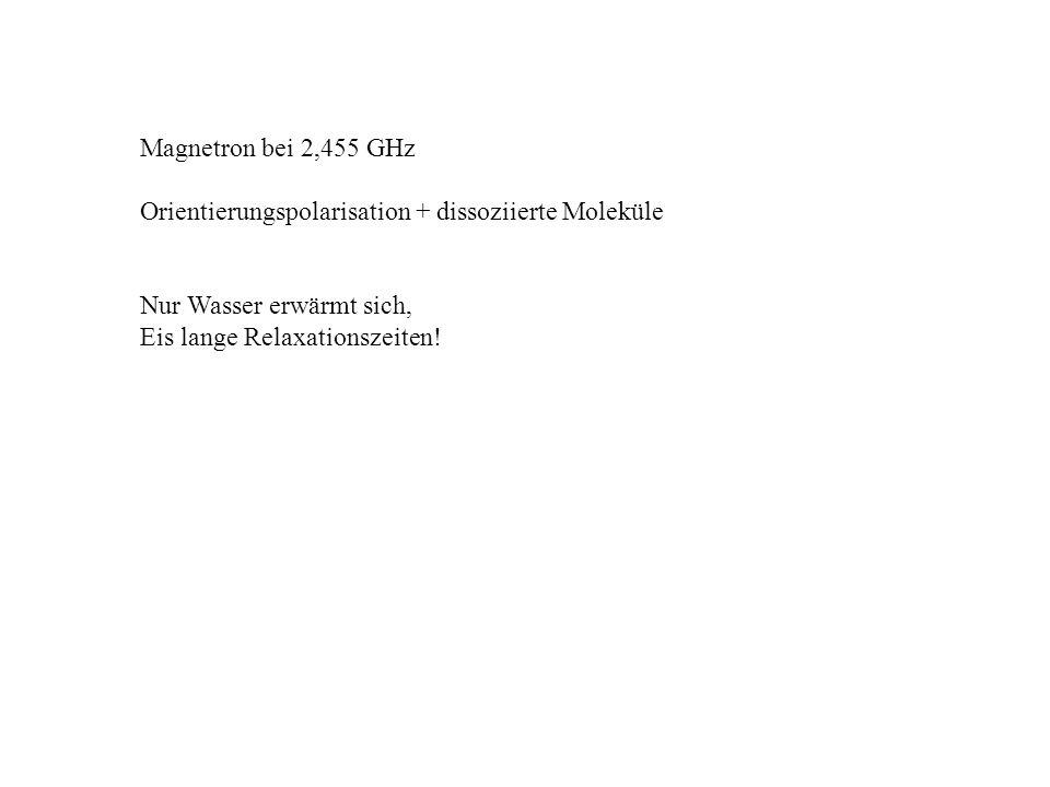 Magnetron bei 2,455 GHz Orientierungspolarisation + dissoziierte Moleküle. Nur Wasser erwärmt sich,