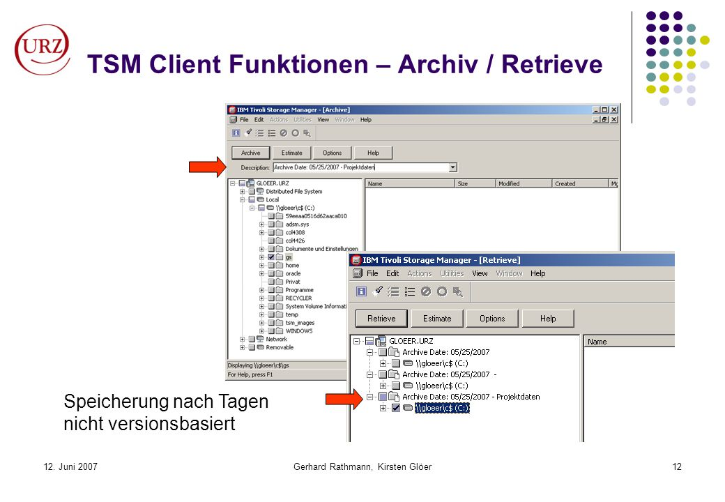 TSM Client Funktionen – Archiv / Retrieve