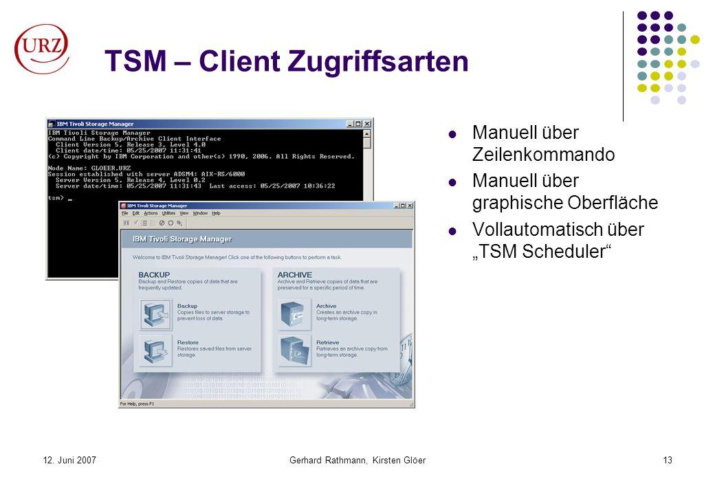 TSM – Client Zugriffsarten