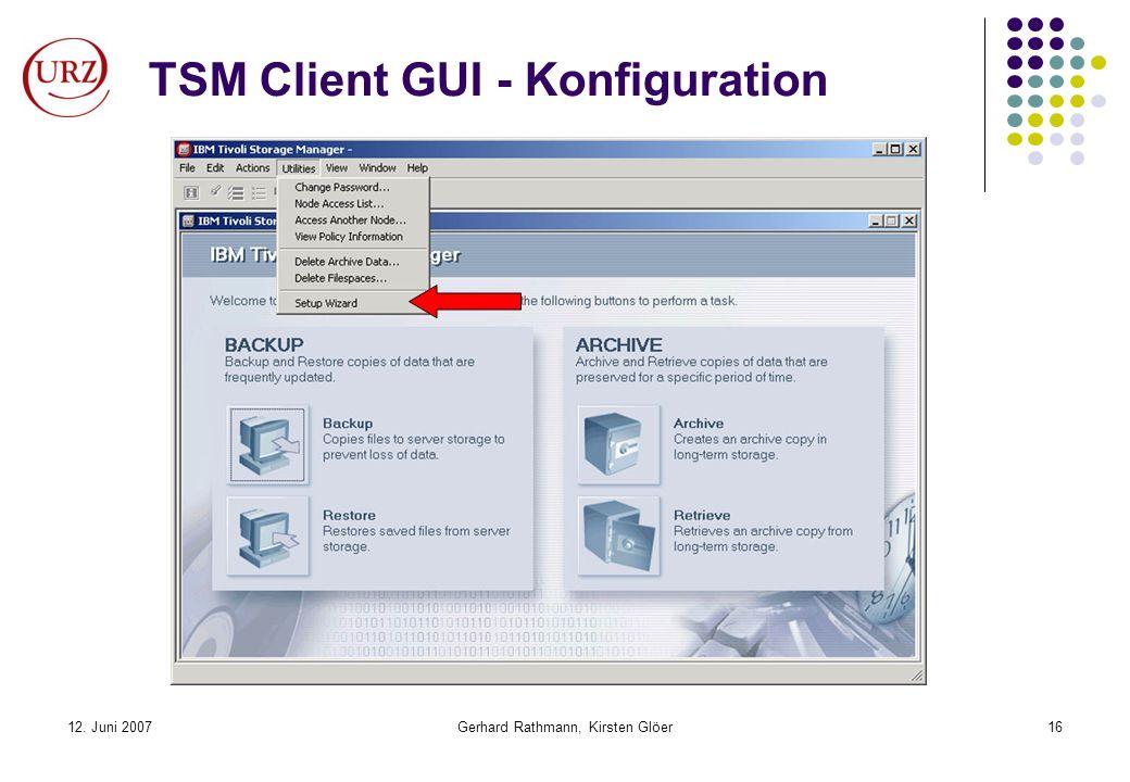 TSM Client GUI - Konfiguration