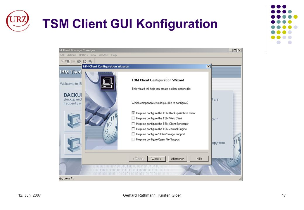 TSM Client GUI Konfiguration