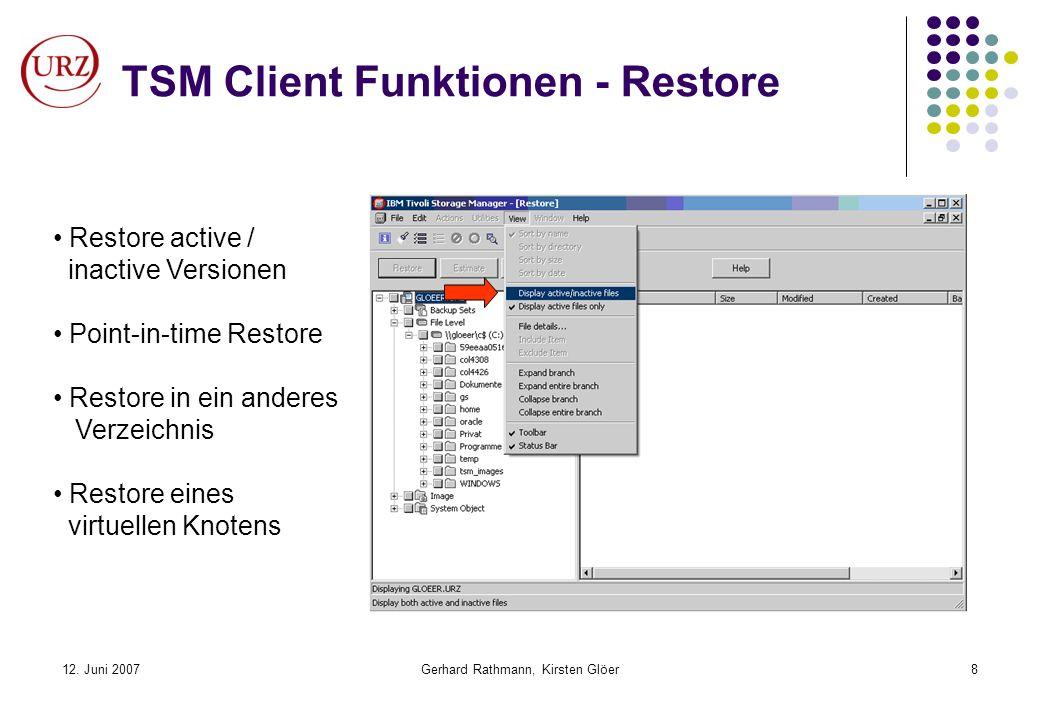 TSM Client Funktionen - Restore