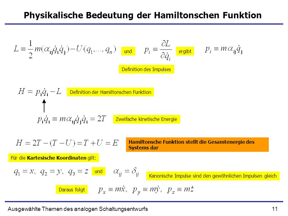 Physikalische Bedeutung der Hamiltonschen Funktion