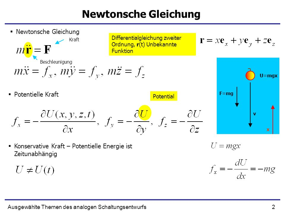 Newtonsche Gleichung Newtonsche Gleichung Potentielle Kraft