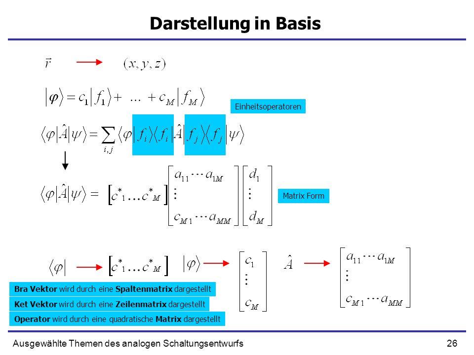 Darstellung in Basis Einheitsoperatoren. Matrix Form. Bra Vektor wird durch eine Spaltenmatrix dargestellt.