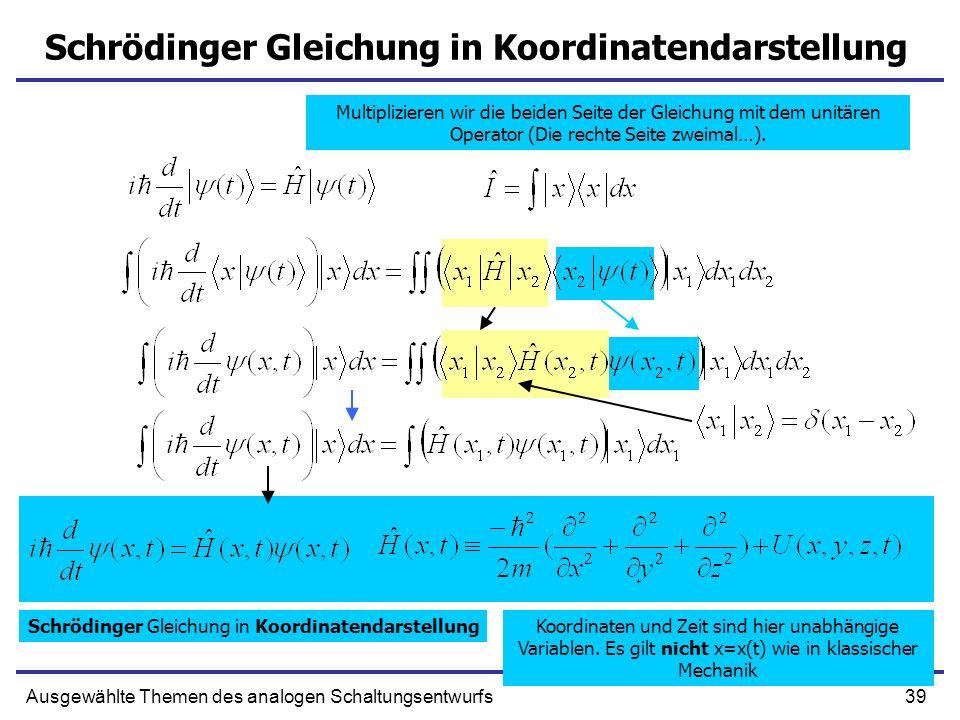 Schrödinger Gleichung in Koordinatendarstellung