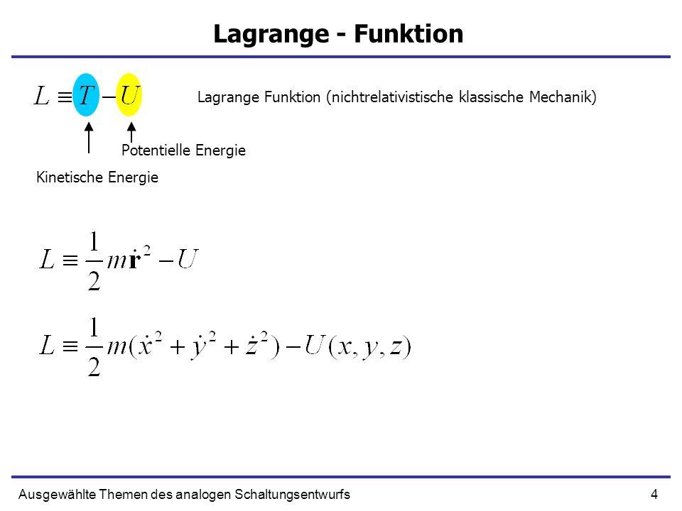 Lagrange Funktion (nichtrelativistische klassische Mechanik)