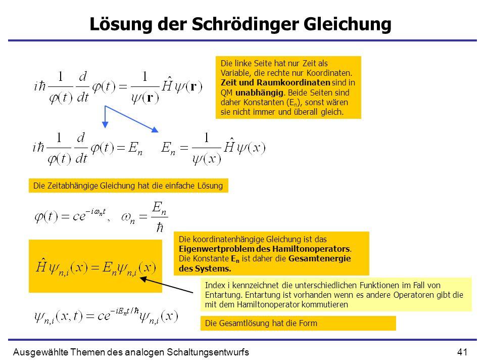 Lösung der Schrödinger Gleichung