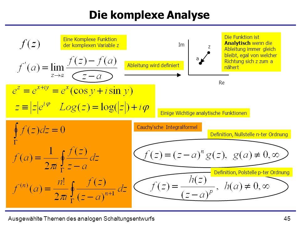 Die komplexe Analyse Die Funktion ist Analytisch wenn die Ableitung immer gleich bleibt, egal von welcher Richtung sich z zum a nähert.