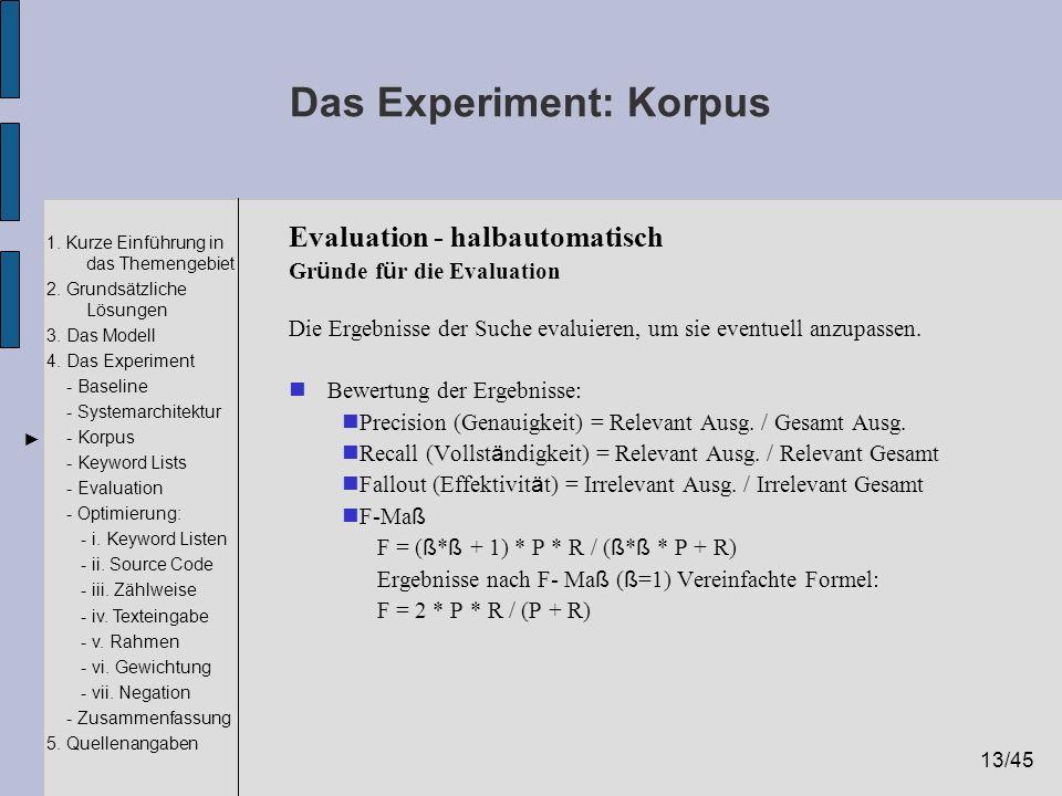 Das Experiment: Korpus