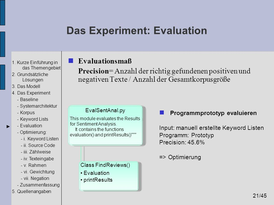 Das Experiment: Evaluation