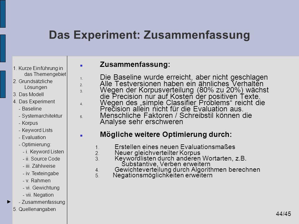 Das Experiment: Zusammenfassung