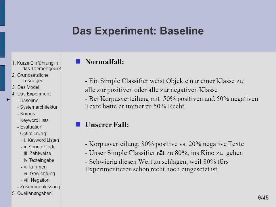 Das Experiment: Baseline