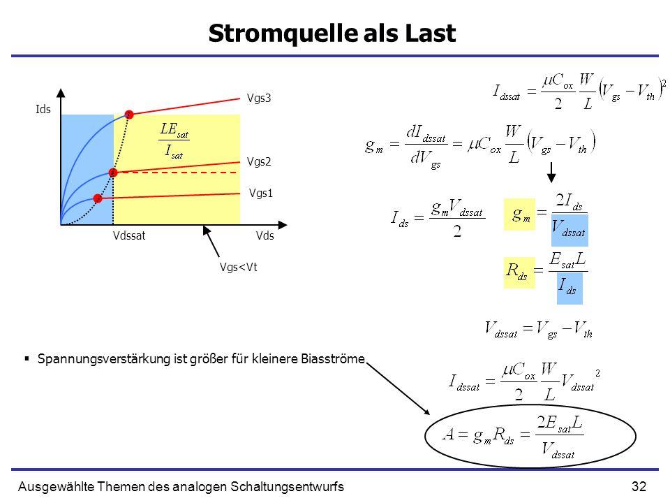 Stromquelle als LastVgs3. Ids. Vgs2. Vgs1. Vdssat. Vds. Vgs<Vt. Spannungsverstärkung ist größer für kleinere Biasströme.