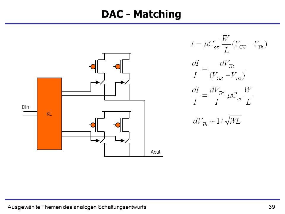 DAC - Matching Ausgewählte Themen des analogen Schaltungsentwurfs KL