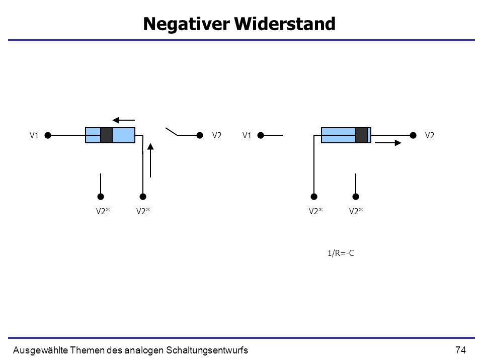 Negativer Widerstand V1. V2. V1. V2. V2* V2* V2* V2* 1/R=-C.
