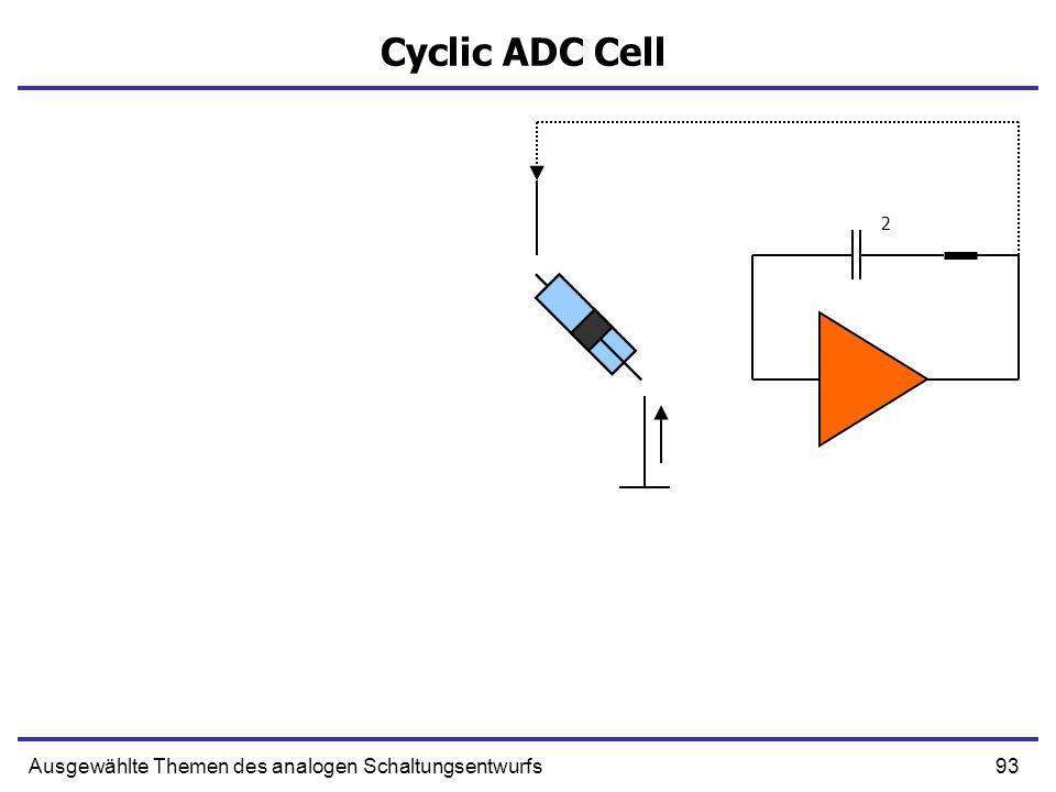 Cyclic ADC Cell 2 Ausgewählte Themen des analogen Schaltungsentwurfs
