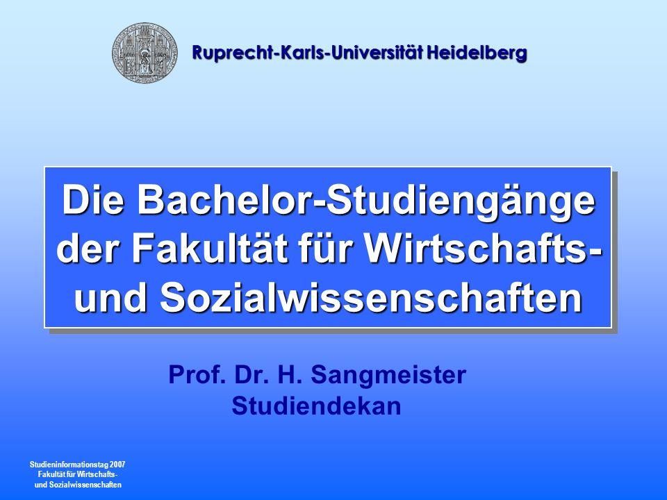 Prof. Dr. H. Sangmeister Studiendekan
