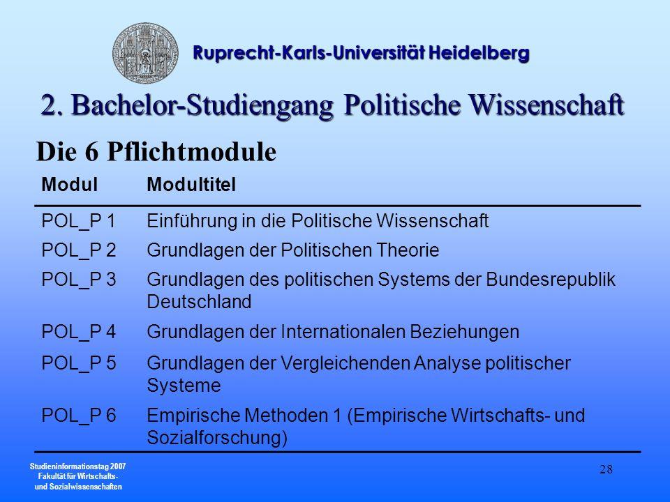 2. Bachelor-Studiengang Politische Wissenschaft
