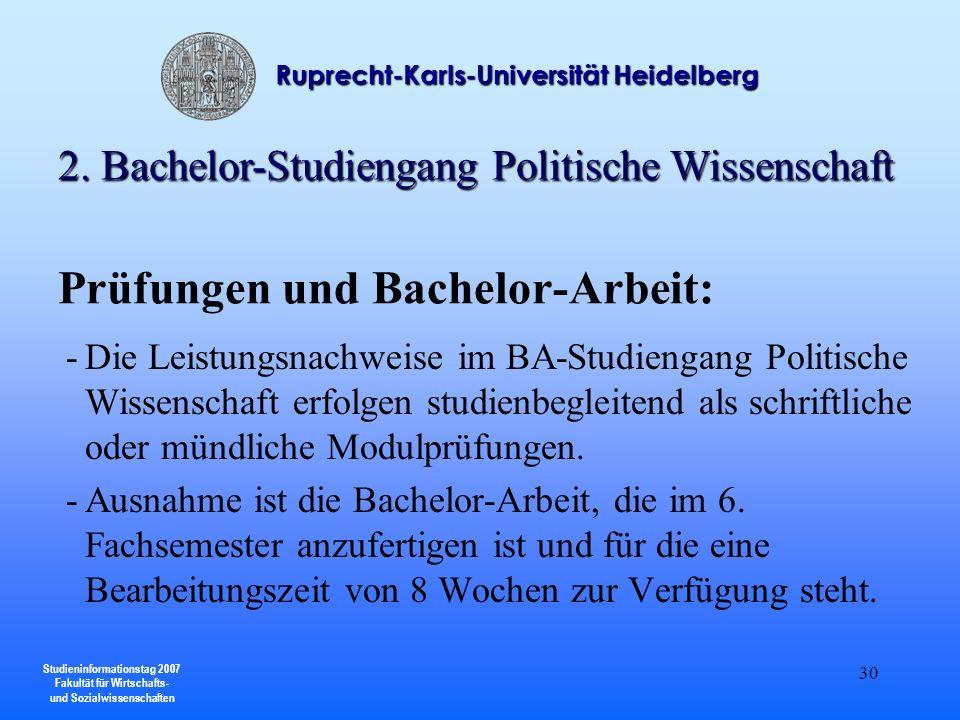 Prüfungen und Bachelor-Arbeit:
