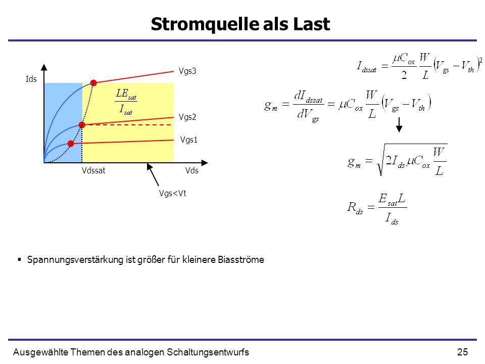 Stromquelle als Last Vgs3. Ids. Vgs2. Vgs1. Vdssat. Vds. Vgs<Vt. Spannungsverstärkung ist größer für kleinere Biasströme.