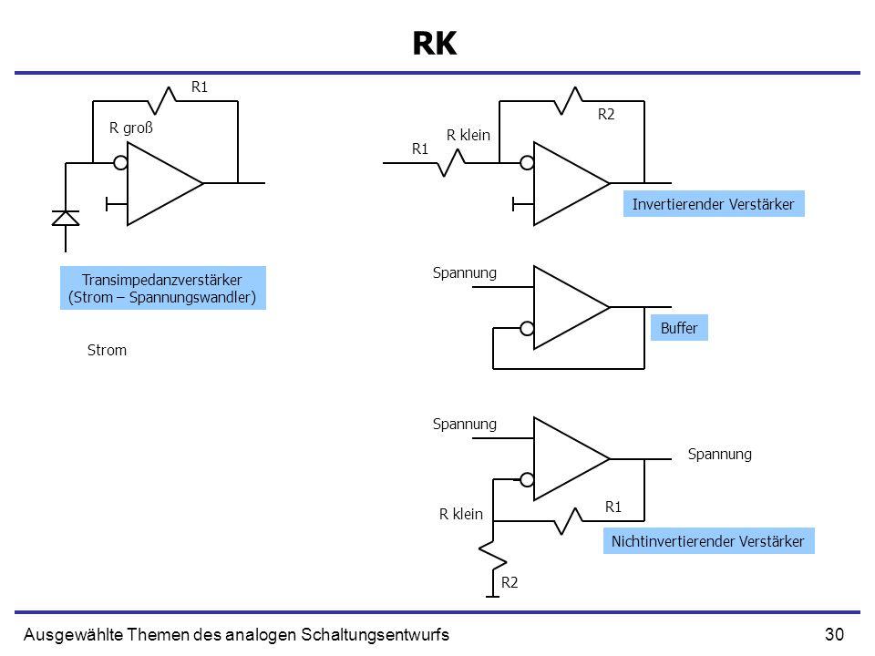 RK Ausgewählte Themen des analogen Schaltungsentwurfs R1 R2 R groß