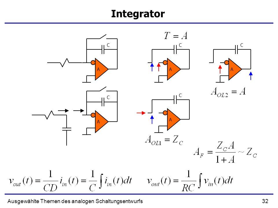 Integrator Ausgewählte Themen des analogen Schaltungsentwurfs C C C A