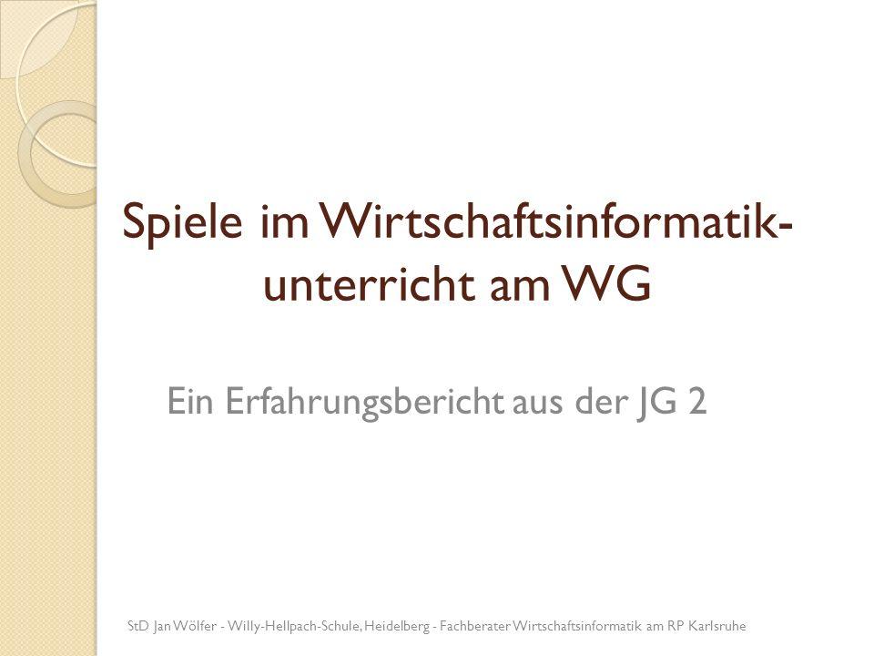 Spiele im Wirtschaftsinformatik-unterricht am WG