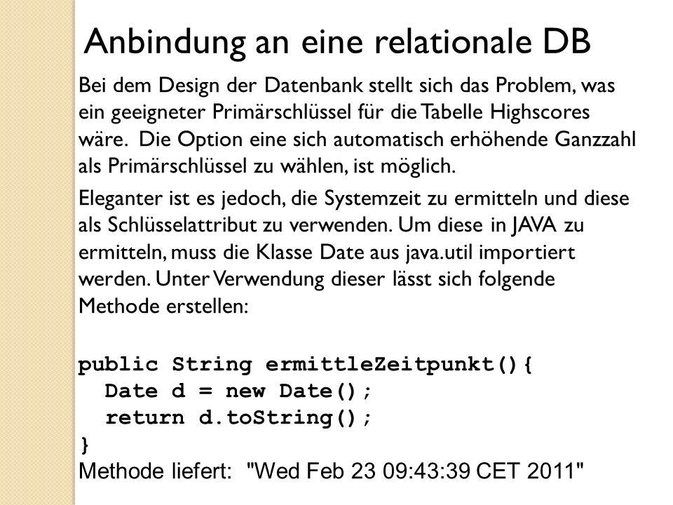 Anbindung an eine relationale DB