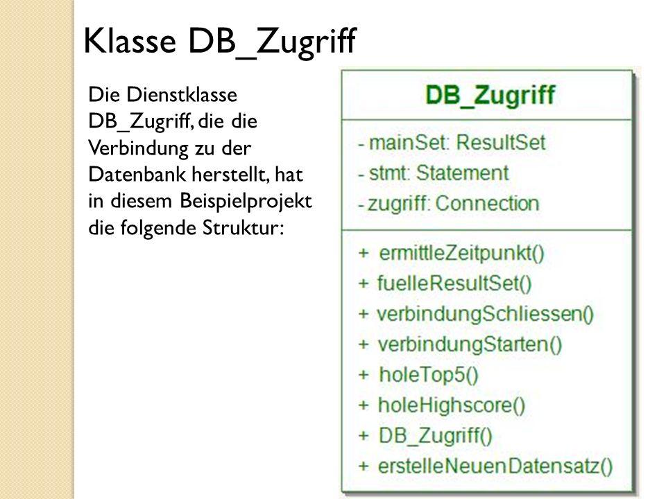 Klasse DB_Zugriff Die Dienstklasse DB_Zugriff, die die Verbindung zu der Datenbank herstellt, hat in diesem Beispielprojekt die folgende Struktur: