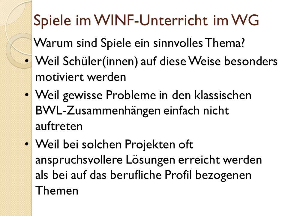 Spiele im WINF-Unterricht im WG