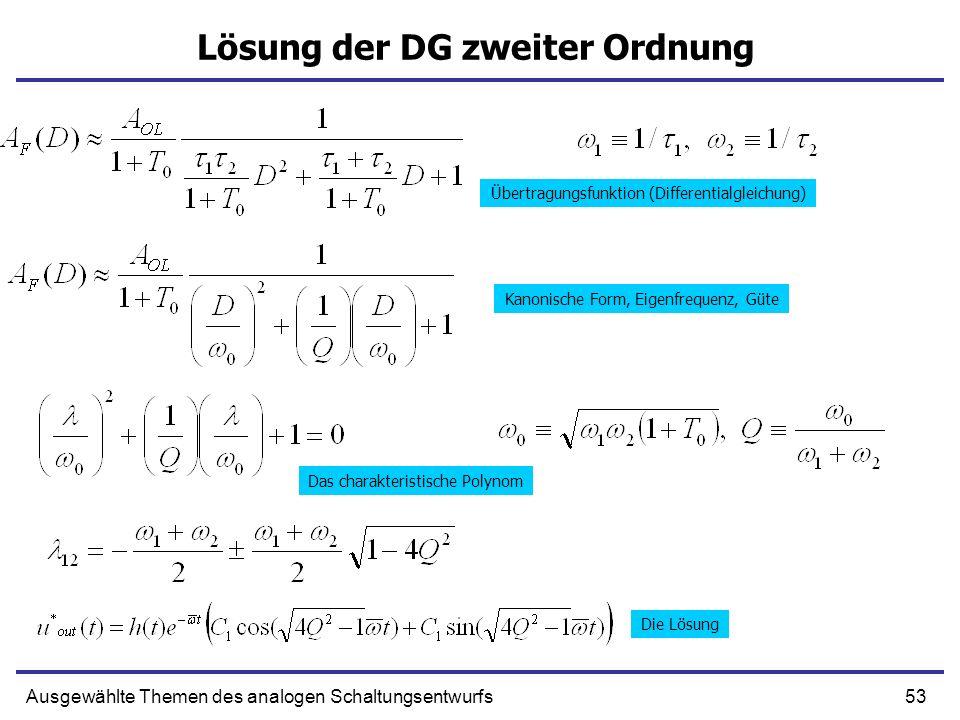Lösung der DG zweiter Ordnung
