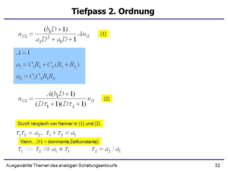 Tiefpass 2. Ordnung (1) (2) Durch Vergleich von Nenner in (1) und (2)