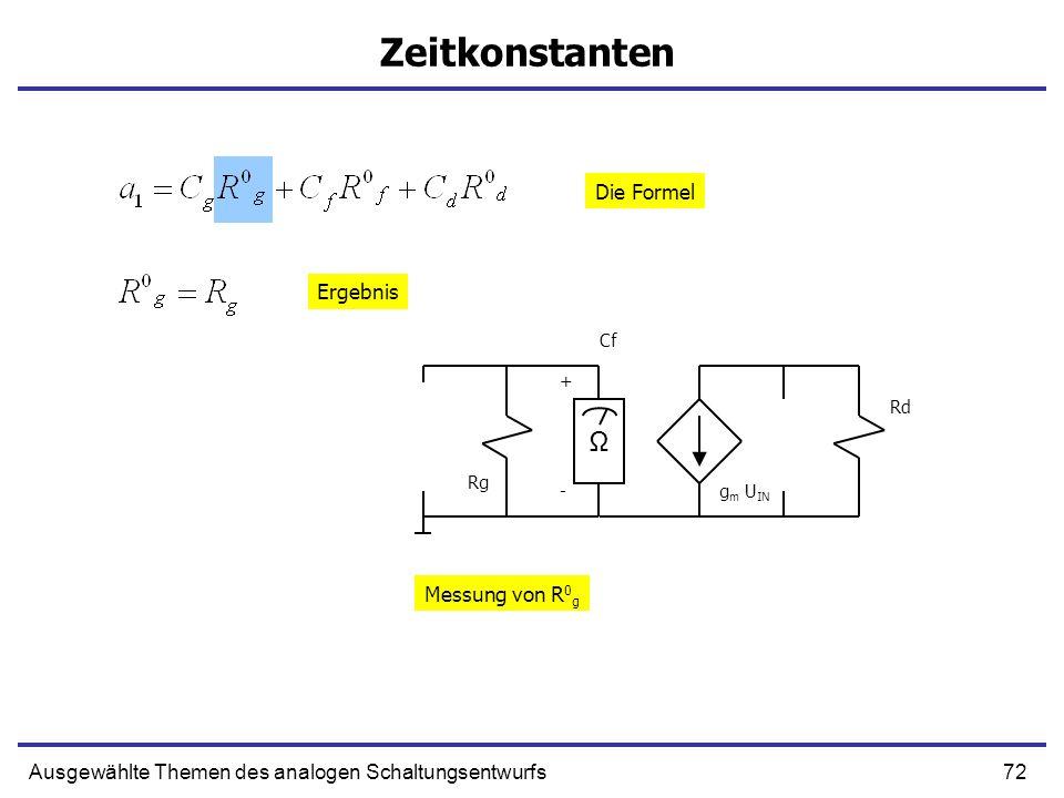 Zeitkonstanten Ω Die Formel Ergebnis Messung von R0g