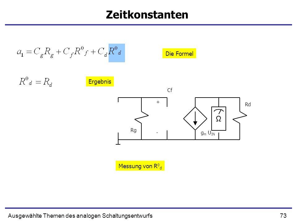 Zeitkonstanten Ω Die Formel Ergebnis Messung von R0d