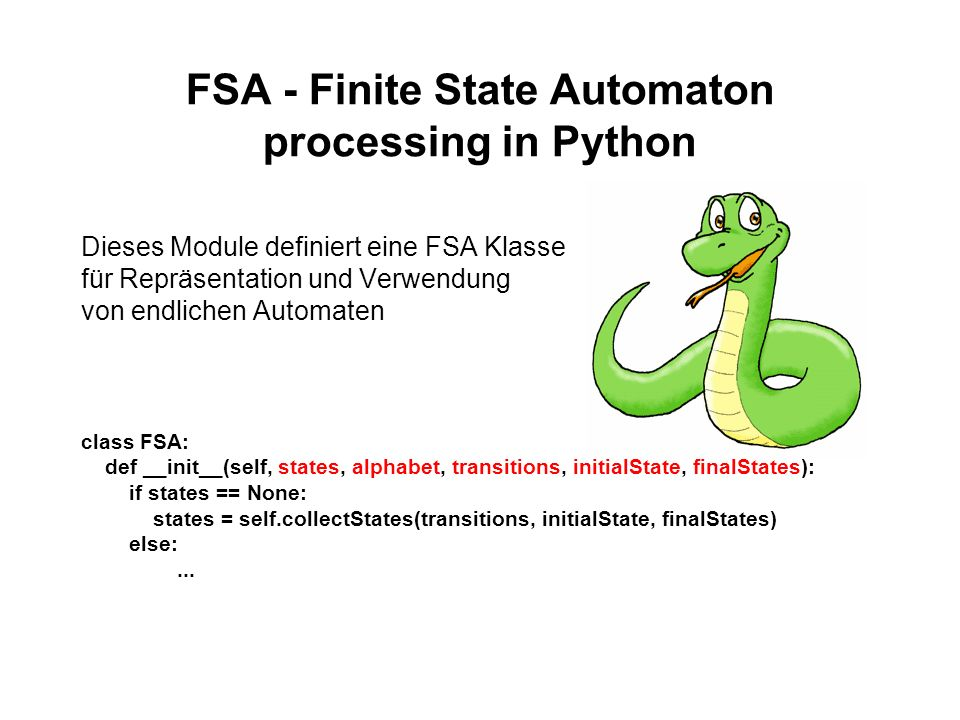 FSA - Finite State Automaton processing in Python