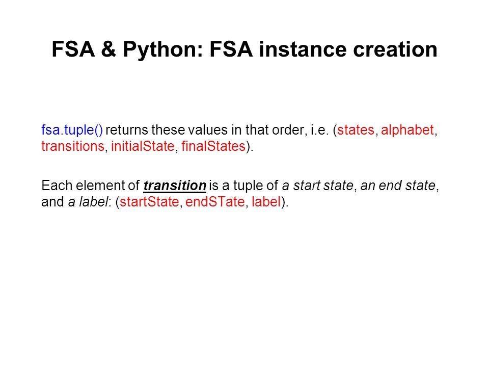 FSA & Python: FSA instance creation