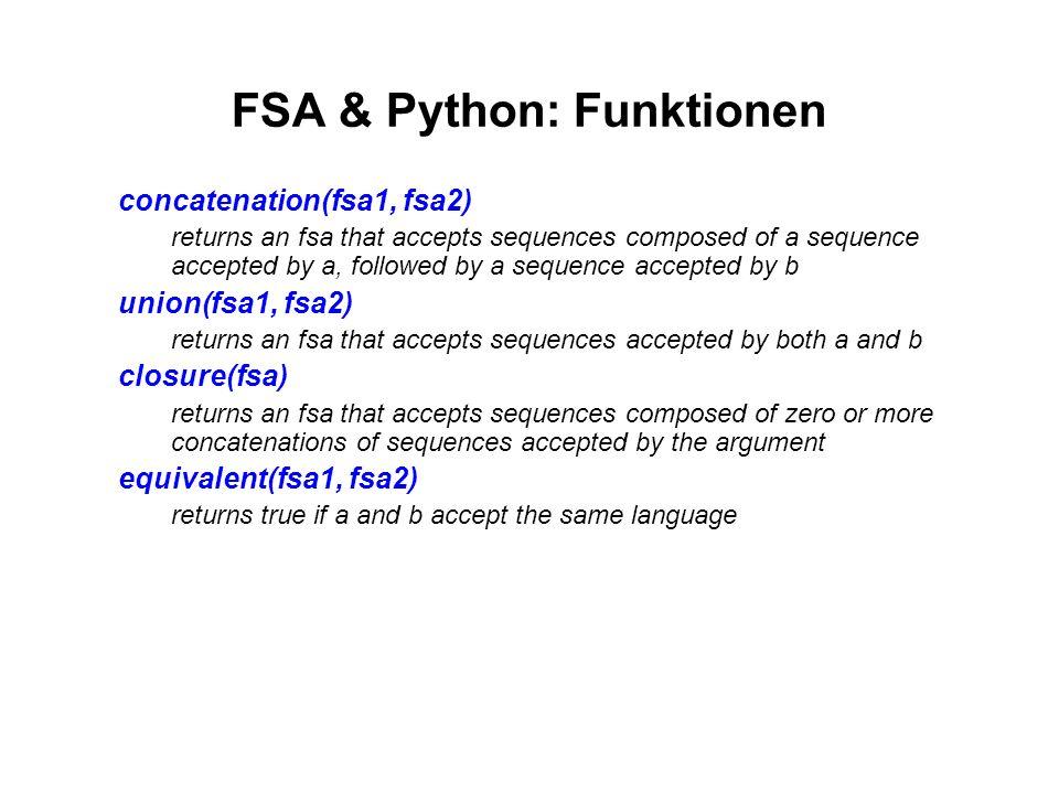 FSA & Python: Funktionen