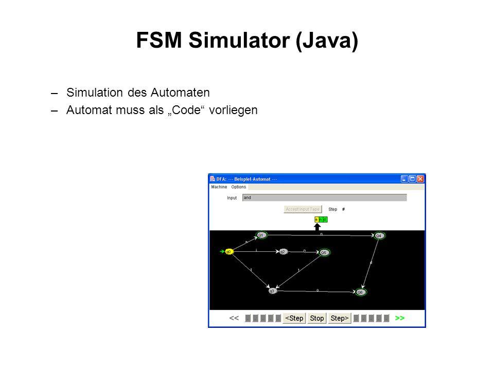 FSM Simulator (Java) Simulation des Automaten