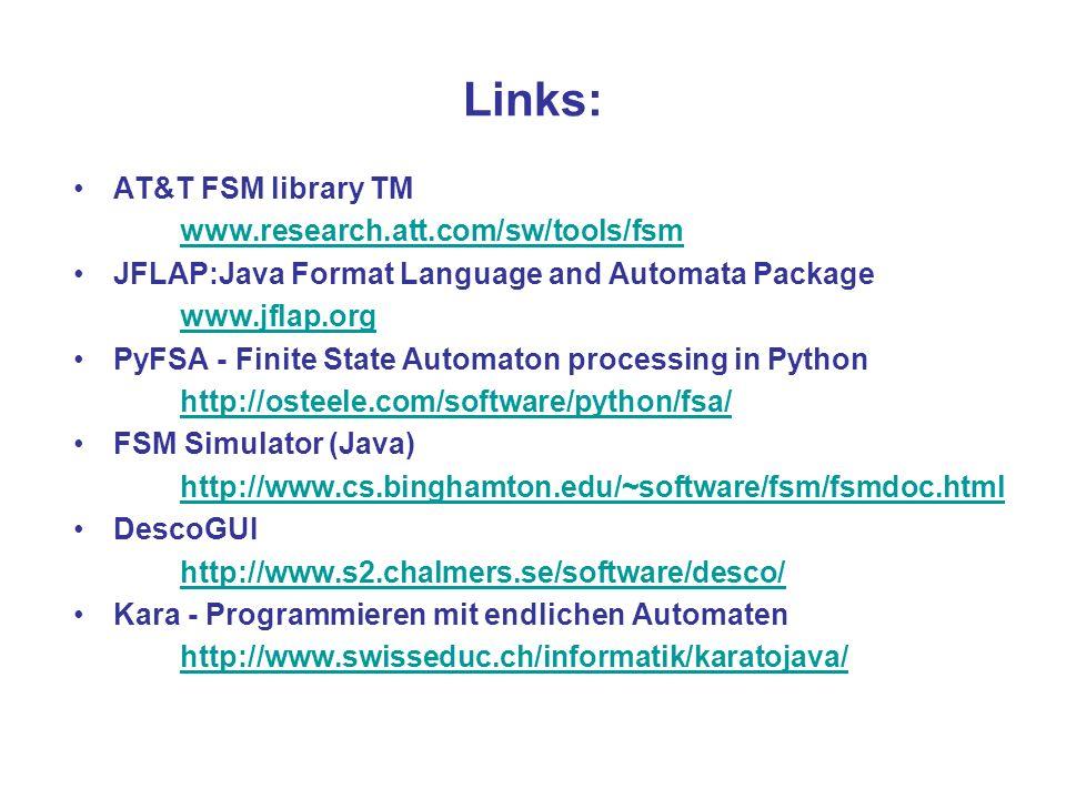 Links: AT&T FSM library TM www.research.att.com/sw/tools/fsm