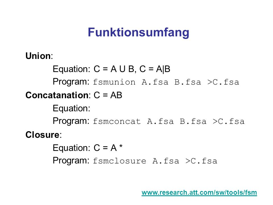 Funktionsumfang Union: Equation: C = A U B, C = A|B