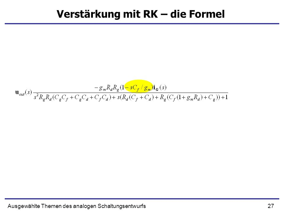 Verstärkung mit RK – die Formel