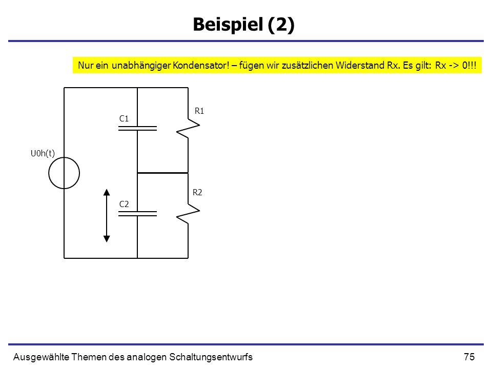 Beispiel (2)Nur ein unabhängiger Kondensator! – fügen wir zusätzlichen Widerstand Rx. Es gilt: Rx -> 0!!!