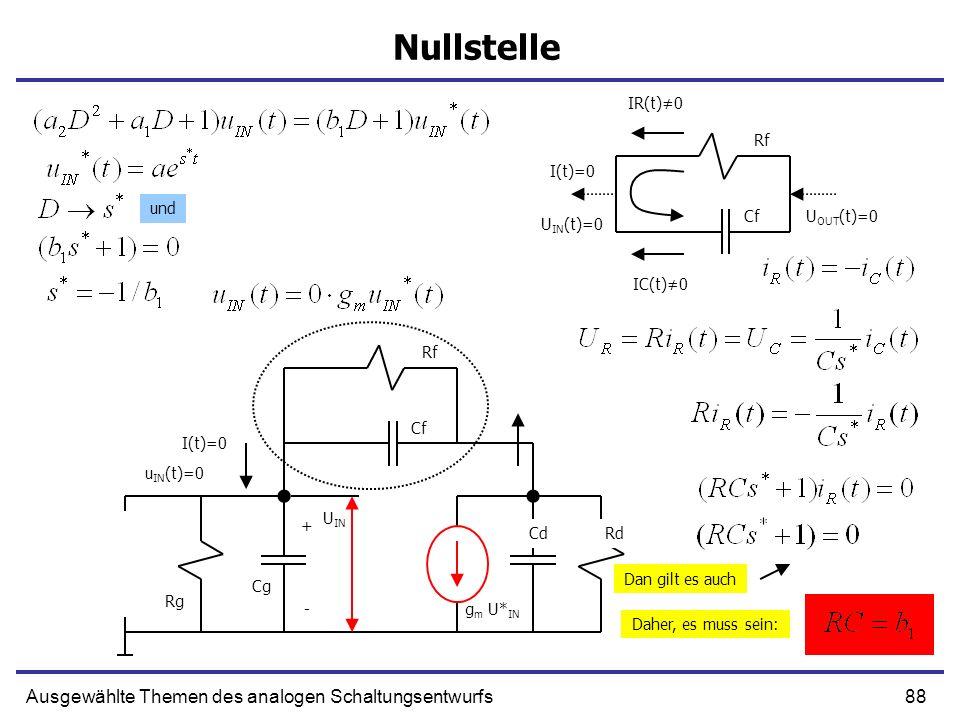 Nullstelle Ausgewählte Themen des analogen Schaltungsentwurfs IR(t)≠0
