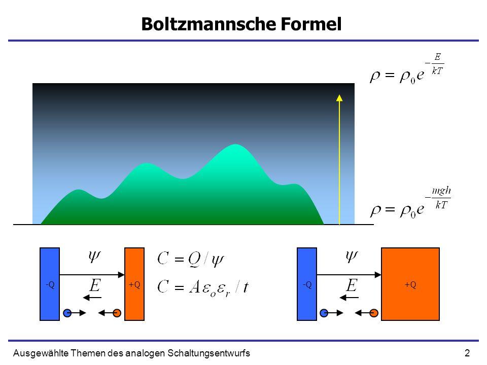 Boltzmannsche Formel -Q +Q -Q +Q Ausgewählte Themen des analogen Schaltungsentwurfs