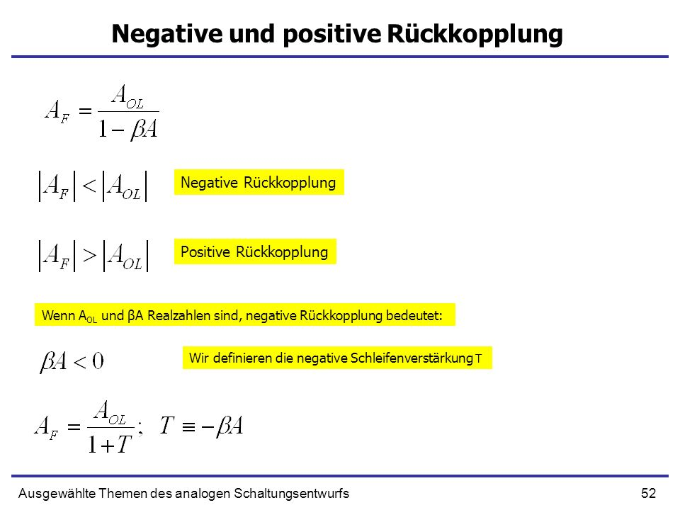 Negative und positive Rückkopplung