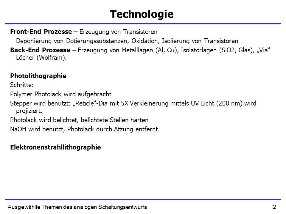 Technologie Front-End Prozesse – Erzeugung von Transistoren