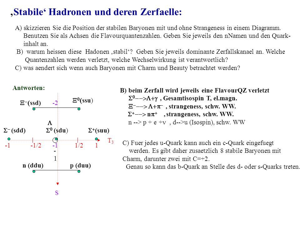 'Stabile' Hadronen und deren Zerfaelle: