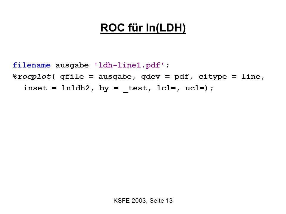 ROC für ln(LDH) filename ausgabe ldh-line1.pdf ;